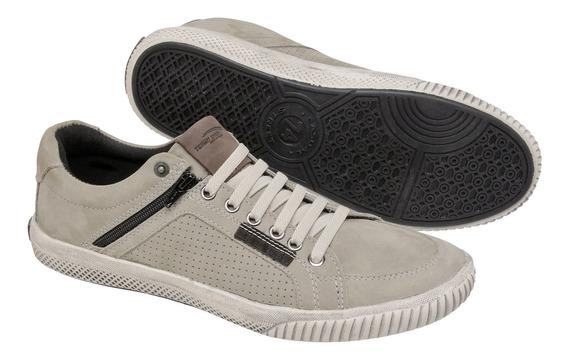 Sapatenis Masculino Tchwm Shoes Couro Cinza Zíper Lateral