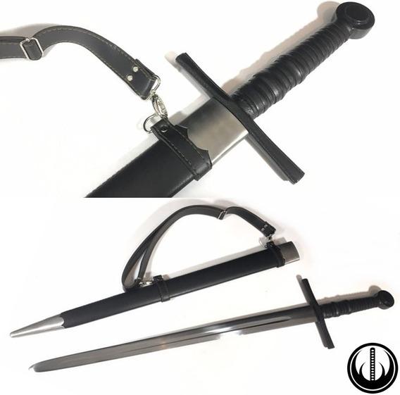 Espada Medieval Templaria Funcional Afiada Aço 9260