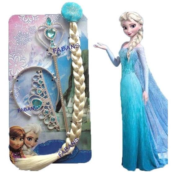 Disfraz Kit De Elsa Trenza + Corona + Cetro Princesa Frozen