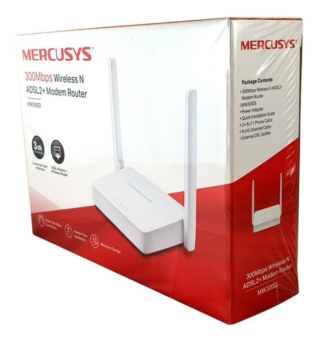 Imagen 1 de 10 de Modem Router Wifi N 300mbps Mercusys Mw300d Configurado