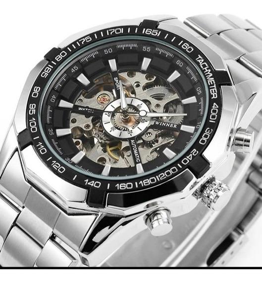 Relógio Masculino Automático Aço Esqueleto Promoção C.120