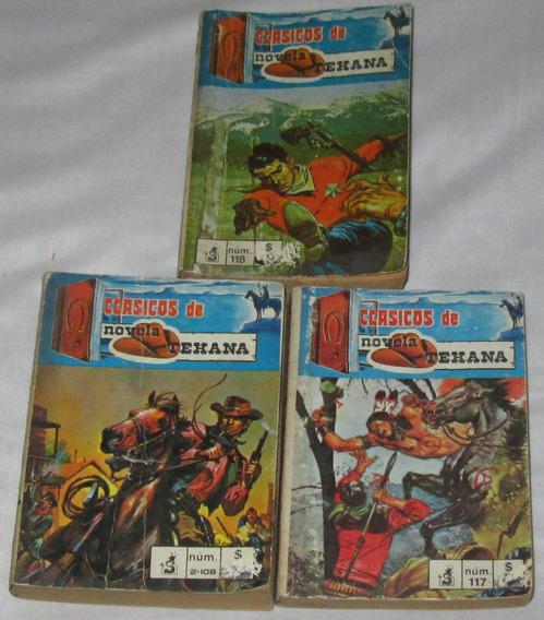 Clasicos De Novela Texana, Lote De 3 Comics Antiguos. 278 P