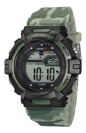 Relógio Speedo Masculino Camuflado 81191g0evnp2 Verde Estilo Militar - Resistente - Garantia E Nota Fiscal
