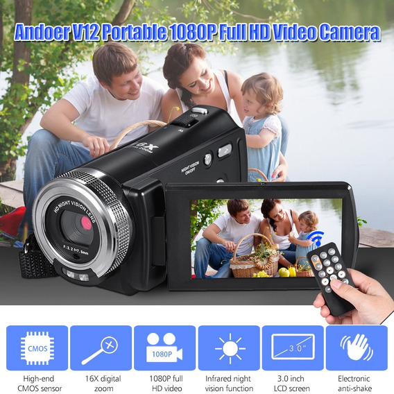 Vídeo Gravação Zoom Digital Andoer V12 1080p Completo Hd 16x