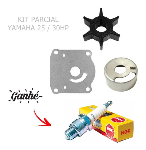 Yamaha 25/30hp Kit Parcial Bomba De Agua + Vela B7 Hs Brinde