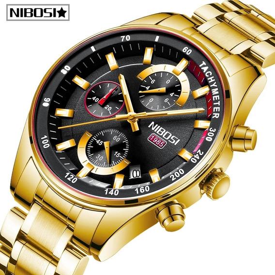 Relógio Luxo Nibosi Cronógrafo Aço Inoxidável Blindado