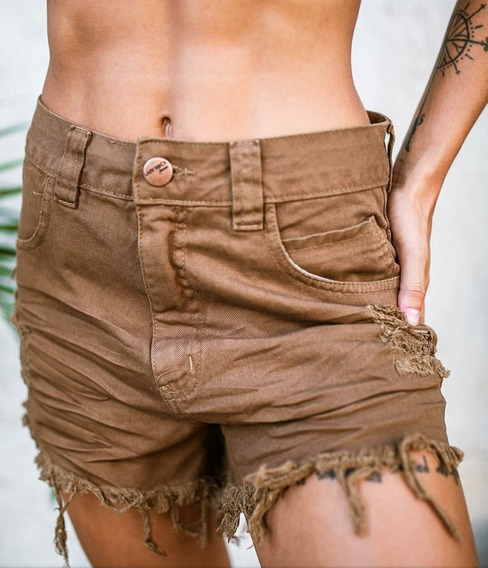 Shorts Lady Rock Jeans Coloridos Cos Alto Cintura Alta