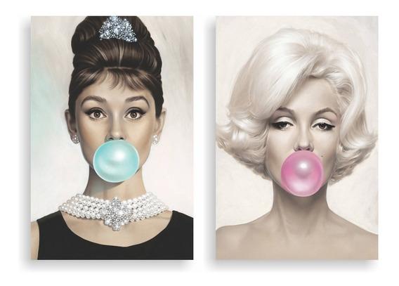 Kit Placas Marilyn Monroe E Audrey Hapburn Chiclets 30x40 Cm