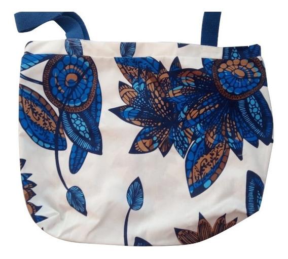 Bolsa De Praia Flores Azul