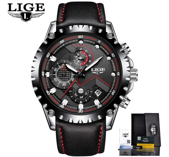 Relógio Pulseira Couro Esportes , Data, Cronômetro Lige 9821