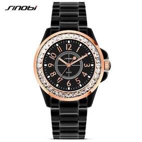 Relógio Feminino Sinobi Importado Preto Aço Inoxidável 9390