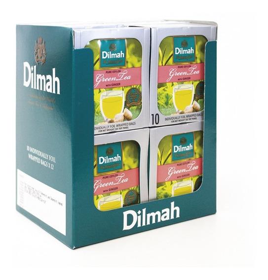 Té Verde Dilmah Jengibre Display 12 Unidades.