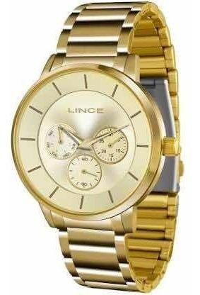 Relógio Lince Orient Masculino Dourado 50 Metros Lmgj054l