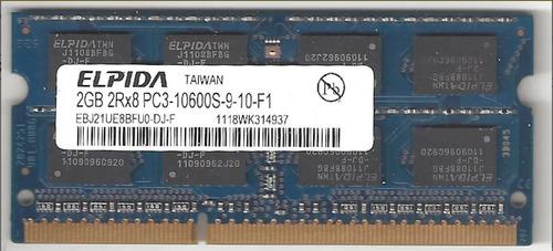 Memoria Ram Elpida Ddr3 2gb Pc3-10600 Sodimm Notebook