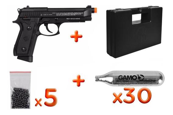 Pistola Co2 P92 Metal 4.5mm Blowback+ 30 Co2 + Esfera+maleta