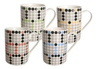 Juego X 12 Tazas De Porcelana Jarros Mugs Círculos