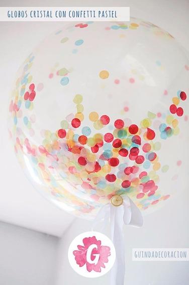 Globos Transparente Cristal C/ Confeti Personalizado Helio E