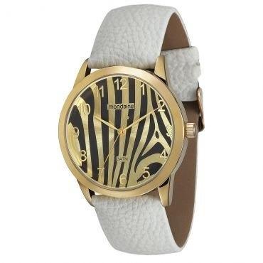 Relógio Pulso Feminino Mondaine Pulseira Couro Eco -branco
