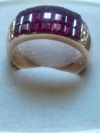 Anillo Con Rubíes Cuadrados Y Diamantes Oro 18 Kts #33