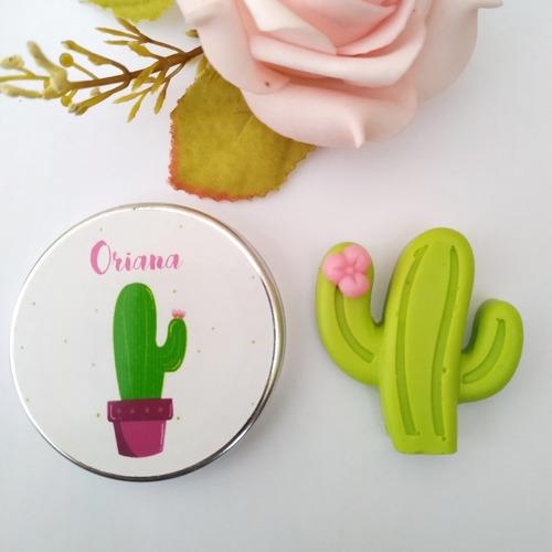 10 Souvenir Jabón Cactus En Latita - Cumpleaños Baby Shower