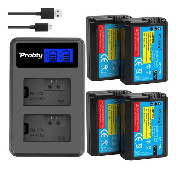 Kit 4 Bateria + Carregador Duplo Sony Alpha A6500 A6000 A7r A9 Nex-3 Alpha 7 Dsc-rx10 6300 6500 5100 A7si A7r Baterias