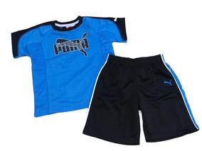 Conjunto Infantil Puma Menino Verão Short Original Azul
