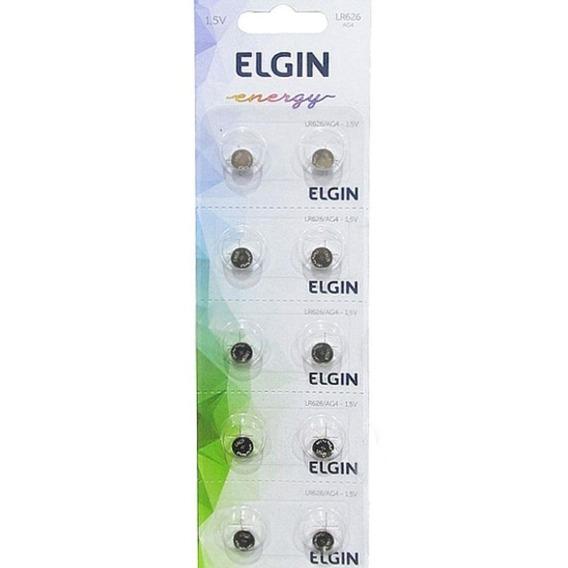 Pilha Alcalina Lr626 Ag4 C/10 82308 Elgin Energy 1,5v Nfe