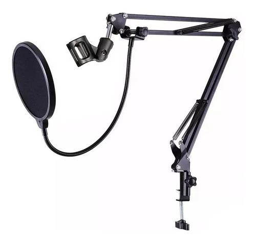 Braço Suporte De Mesa Articulado Pra Microfones + Pop Filter