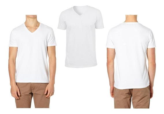 Camisetas Cuello En V Blancas En Algodón 180 Gramos