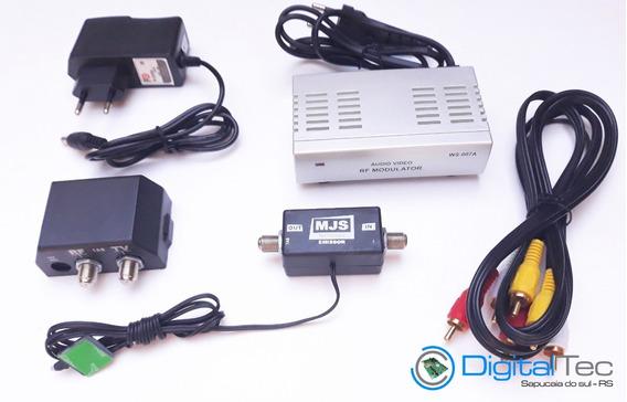 Kit Ponto Escravo Modulador Rf + Extensor De Controle Remoto + Cabo Rca