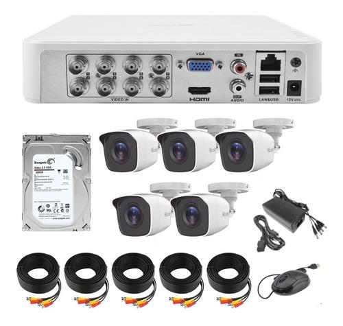 Imagen 1 de 8 de Kit Video Vigilancia 5 Cámaras Hilook Hd 720p Cctv Disco Duro 500gb