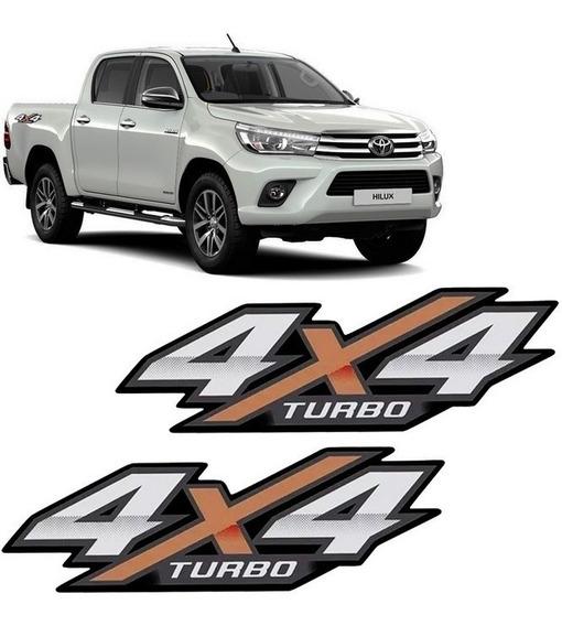 Par De Emblema Adesivo 4x4 Turbo Nova Hilux 2016 2017 2018