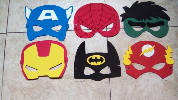 Mascara Hulk Batman Flash S. Man Mujer Maravilla Etc X 10 U
