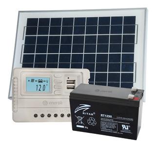 Kit Panel Solar 10w Regulador 5a Bateria 12v 7ah - Enertik