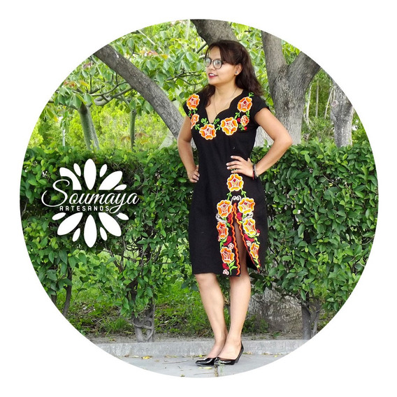 Elegante Precioso Vestido Shkenda Bordado Artesanal Mexicano