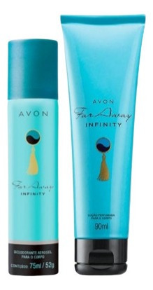 Avon Far Away Infinity Desodorante Spray E Loção Corporal