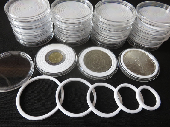 20 Capsulas Moneda Arillo Ajustable 20 26 30 35 40 46 Mm #1