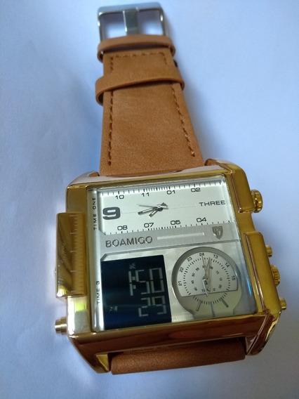 Relógio Masculino Quadrado Branco Dourado Boamigo Promoção