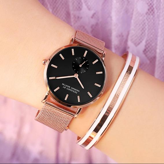 Relógio Feminino Grande Dourado A Prova D
