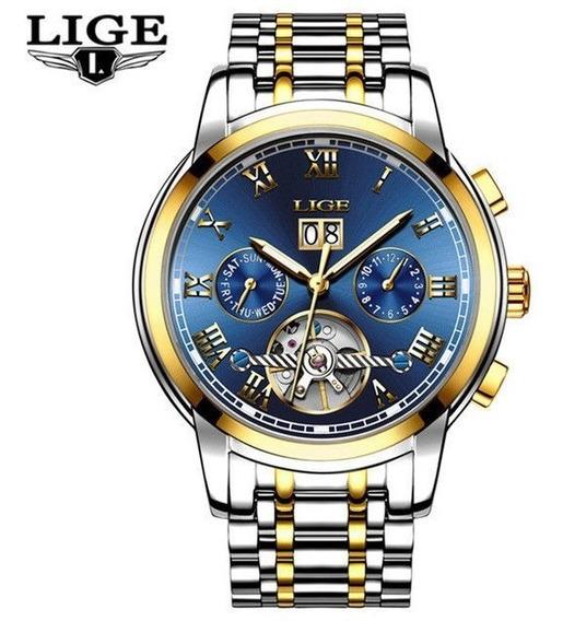Reloj Caballero Marca Lige, Automático De Acero Inox