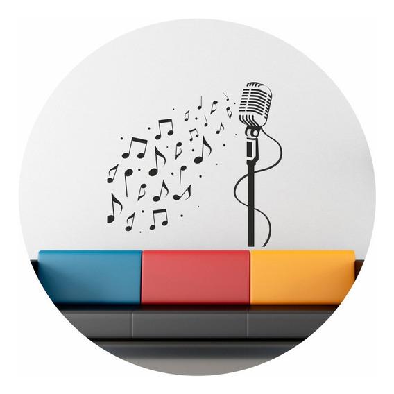 Vinilos Decorativos Pared Microfono Musica Sonido Grande