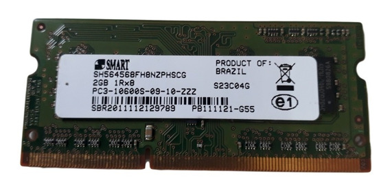 Memoria Smart Notebook Ddr3 2gb Pc3-10600s 1333mhz