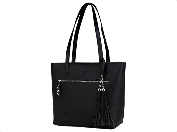 Cartera Shopping Bag Tote Bolso Eco Cuero Cierre Mujer Dama