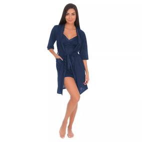 Pijama Para Dama Conjunto Bata Y Camison Satinado Marino