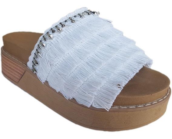 Sandalia Zuecos De Mujer Con Flecos
