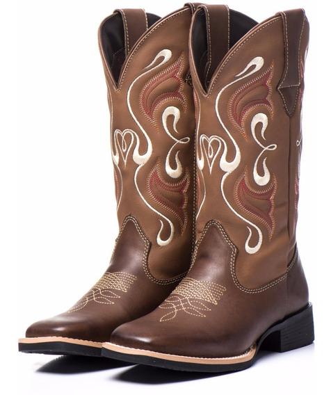 Bota Texana Country Feminina Couro Festa Peao