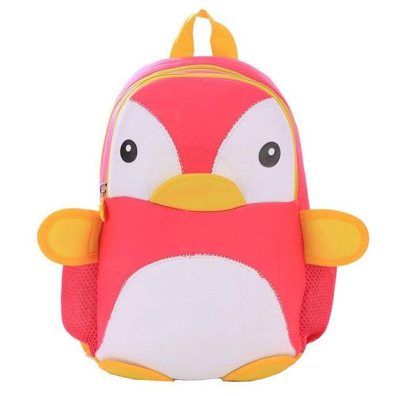 Mochila Escolar Infantil Animais Têxtil Pinguim Rosa
