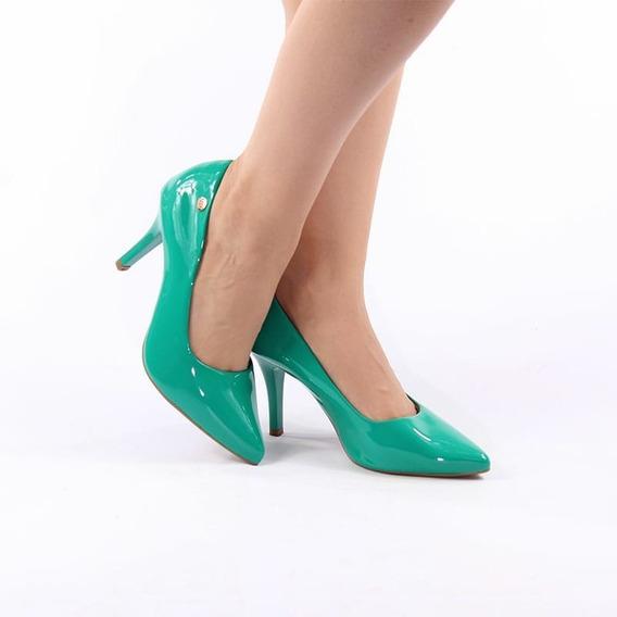 Scarpin Salto Alto Fino Verde Claro Verniz Bico Fino