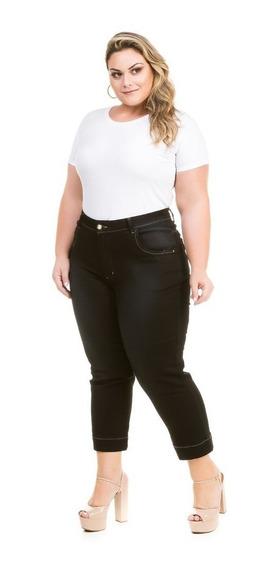 Calça Jeans Capri Para Gordinha Com Lycra Plus Size Cpj115