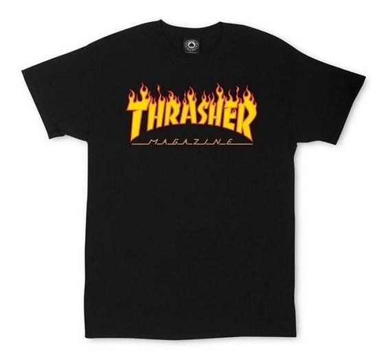 Remera Thrasher Original Flame Negra Niños